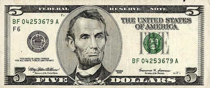 Photo: Abraham Lincoln's $5 dollar bill.